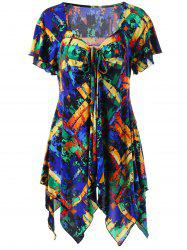 Plus Size Empire Waist Graphic Handkerchiet Tee - COLORMIX