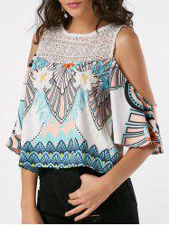 Lace Insert Printed Cold Shoulder Tank Top