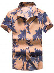 Short Sleeve Coconut Tree Print Hawaiian Shirt - ORANGE