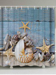 Beach Conch Anti-bacteria Fabric Shower Curtain - BLUE GRAY