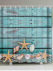 Starfish Shell Extra Long Bathroom Shower Curtain - LAKE BLUE