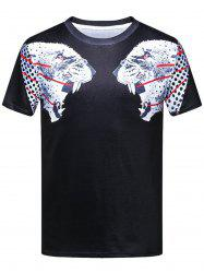 Double Leopard Head 3D Print Short Sleeve T-shirt
