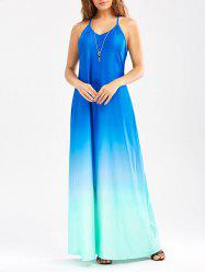 Low Back Sleeveless Maxi Ombre Dress - BLUE