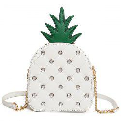 Pineapple Shaped Rhinestone Crossbody Bag - WHITE