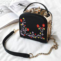 Floral Embroidery Metal Trimmed Handbag - BLACK