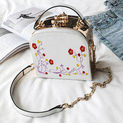 Floral Embroidery Metal Trimmed Handbag - WHITE