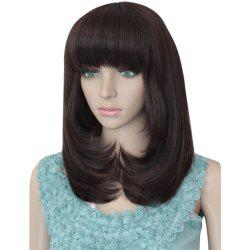 Tail Adduction Full Bang Layered Medium Straight Synthetic Wig