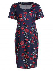 Plus Size Rose Floral Midi Sheath Pencil Dress