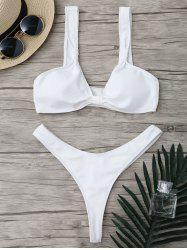 Micro Plunge Neck Ribbed High Cut Two Piece Swimsuit