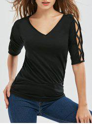 Criss Cross Cutout V Neck Top