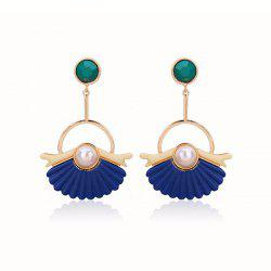 Artificial Pearl Circle Fan Shaped Earrings
