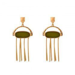 Resin Oval Bar Fringed Drop Earrings