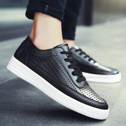 Tie Up Breathable Faux Leather Casual Shoes - BLACK