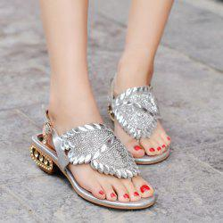 Diamante Metallic Thong Sandals