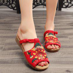 Embroidery Knot Button Slippers