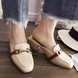 Faux Leather Square Toe Slippers - PALOMINO