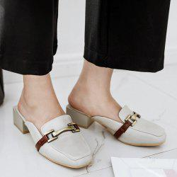 Faux Leather Square Toe Slippers