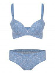 Hearts Print Seamless Padded Bra Set