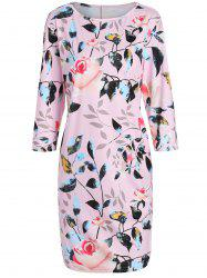 Plus Size Flower Printed Pencil Dress with Pockets - PINK 6XL