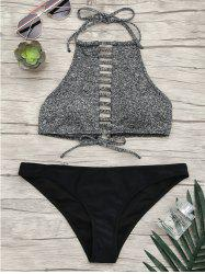 Halter Ladder Cutout Bikini Set - GRAY