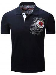 Anchor Embroidered Graphic Print Polo T-shirt - DEEP BLUE