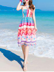 Colorful Print Halter Chiffon Shirring Dress