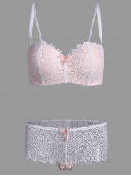 Plus Size Lace Padded Push Up Bra Set - PINK