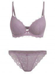 Plus Size Padded Underwire Lace Bra Set