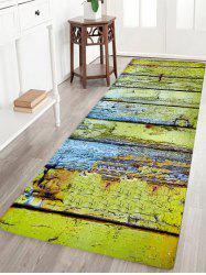 Corroded Wood Floor Pattern Water Absorption Area Rug - GREEN