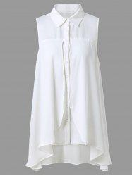 Button Up Sleeveless Asymmetrical Blouse