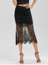 Floral Lace Panel Ruched Midi Skirt - BLACK