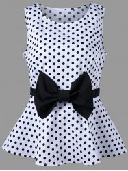 Polka Dot Bowknot Plus Size Top