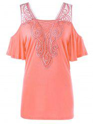 Plus Size Lace Applique Cold Shoulder Top