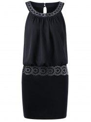 Sequined Embellished Club Mini Blouson Dress - Noir