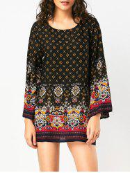 Bohemian Print Long Sleeve Tunic Dress - BLACK