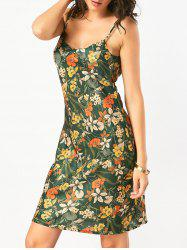 Backless Floral Hawaiian Slip Summer Dress - GREEN L