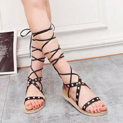 Rivet Tie Leg Gladiator Sandals