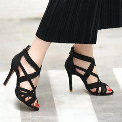 Back Zip Up High Heel Sandals