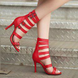 Zipper Buckle Straps Sandals -