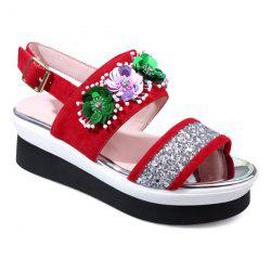 Sequin Flowers Platform Sandals