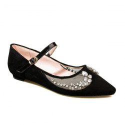 Pointed Toe Rhinestone Sheer Flat Shoes
