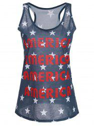 America Graphic Patriotic Racerback Tank Top