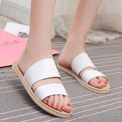 Flat Heel Faux Leather Slippers