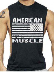 Bodybuilding Muscle American Flag Tank Top -