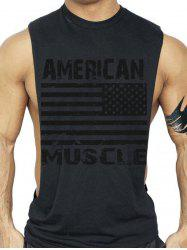 Bodybuilding Muscle American Flag Tank Top - BLACK