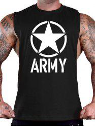 Letter and Star Print Sports Tank Top - BLACK
