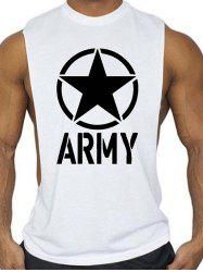 Graphic and Star Print Sports Tank Top -