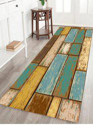 Vintage Wood Floor Pattern Indoor Outdoor Area Rug - TURQUOISE