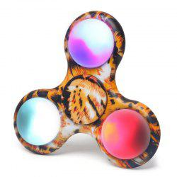 Tri-bar Patterned Plastic Fidget Spinner with Flashing LED Lights - LEOPARD