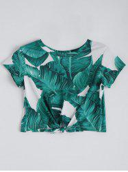 Leaf Print Knotted Cropped Tee